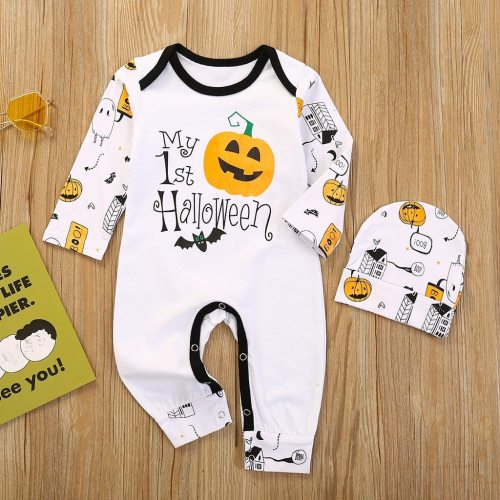 2pcs Baby Girls Boys Children Bodysuit Cartoon Halloween Pumpkin Clothes Set Infant Romper Hats Outfits