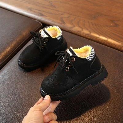 Plus velvet Leather Boots Baby Boys Lace-Up Shoes Anti-slip Walking Shoe Super Warm