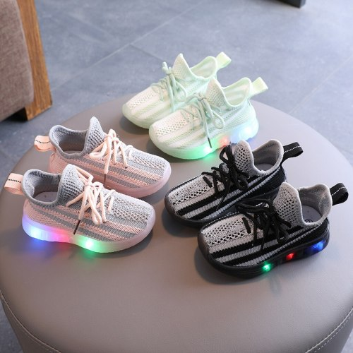 Children Kids Sneakers Shoes Baby Girls Boys Bling Led Light Luminous Sport Sneakers