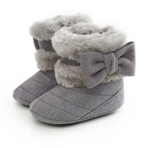 WEIXINBUY Newborn Infant Baby Girls Winter Warm Bow Fur Mid-Calf Length Slip-On Furry Boots 0-18M Hot