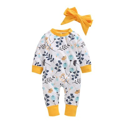 2Pcs baby girl clothes winter Newborn Infant Baby Girls Outfits Floral Print Romper Clothes Set