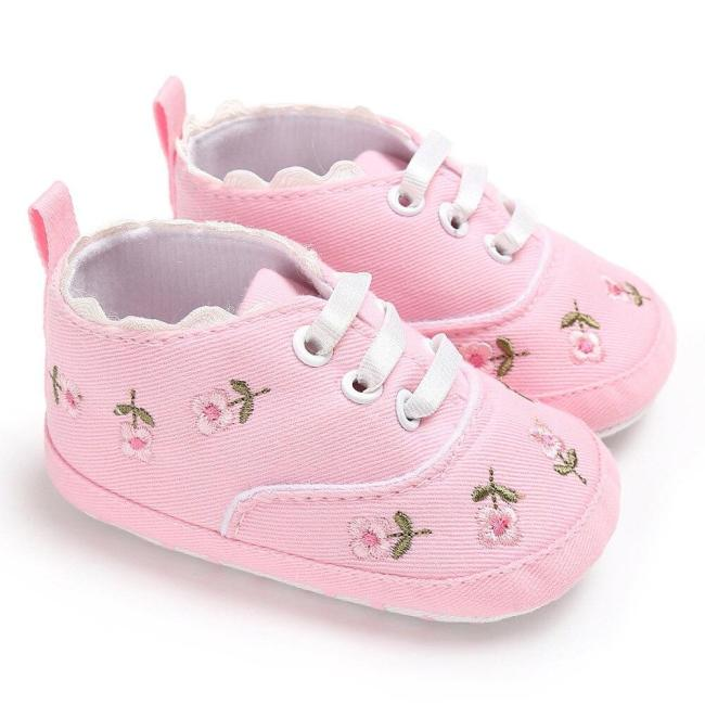 Fashion Newborn Infant Baby Girls Floral Cotton Crib Shoes Soft Sole Anti-slip Sneakers