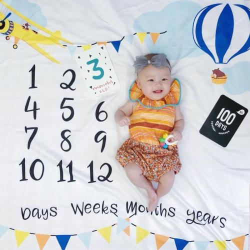 Baby Monthly Milestone Anniversary Blanket Newborns Photo Props Growth Souvenir Blanket Photograph Background Cloth 100x100cm