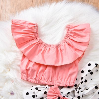 New Summer Clothes For Baby Girl Infant Baby Girls summer Shirt Tops Bow Dot Ruffle Suspender Shorts Outfits Set