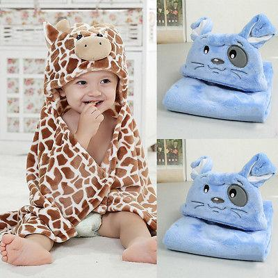 New Cute Bear Shaped Baby Hooded Bathrobe Soft  Cartoon Pattern Towel Newborn Towel Giraffe Towel Blanket Baby Bath Towel 100cm