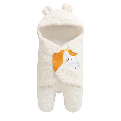 Newborn Baby Cartoon Horse Receiving White Sleeping Blanket Girl Wrap Swaddle