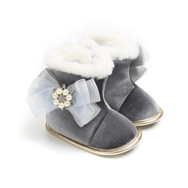 Newborn Baby Toddler Super Warm Winter Snow Boots Kids Flock Soft Bottom With Cute Flower Moccasins Boots