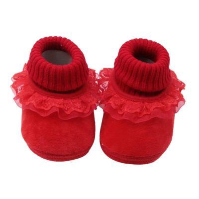 booties baby Newborn fashion baby girl warm woolen yarn booties with flower toddler girls high boots prewalker