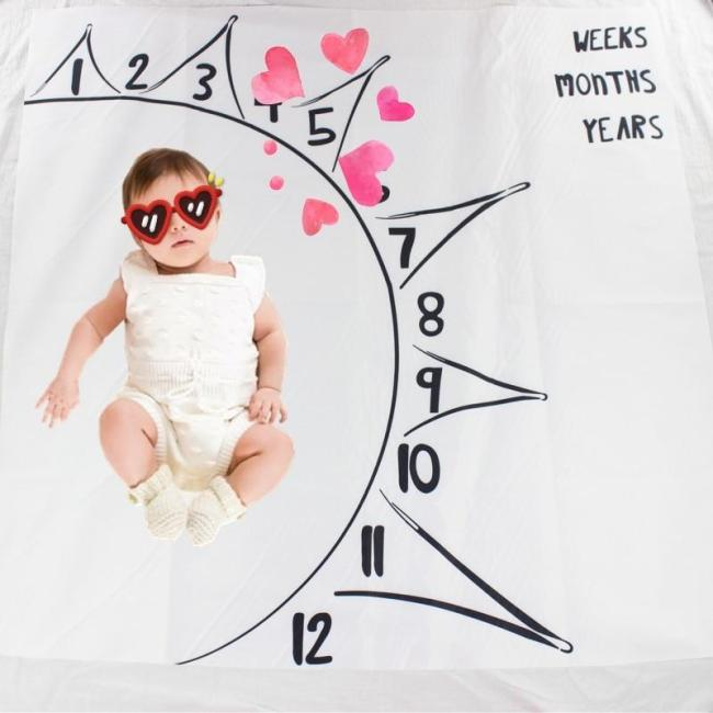 Drop ship Infant Baby Milestone Blanket Photo Photography Props Monthly Growth Blankets Letter Backdrop Cloth 100x100cm