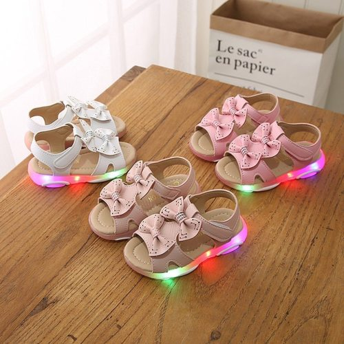 Fashion Children BabyGirls Sneakers Bowknot Led Light Luminous Sport Sandals Sneaker Shoes Baby Girl Shoes