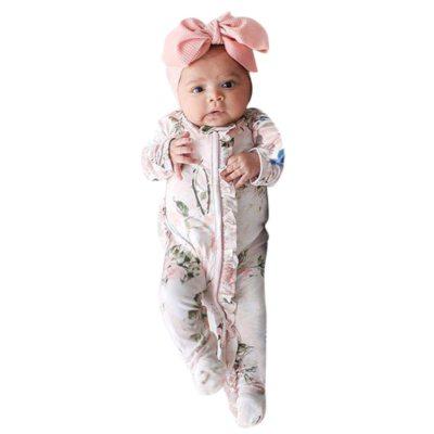 Baby long-sleeved flower print romper Newborn Girl Boy Footed Sleeper Romper Headband Outfits Set romper + hair band