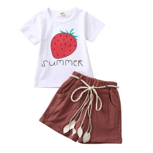Toddler Kids Baby Girl Strawberry Pineapple Lemon Fruit Letter Print Tops + Shorts Outfits Set
