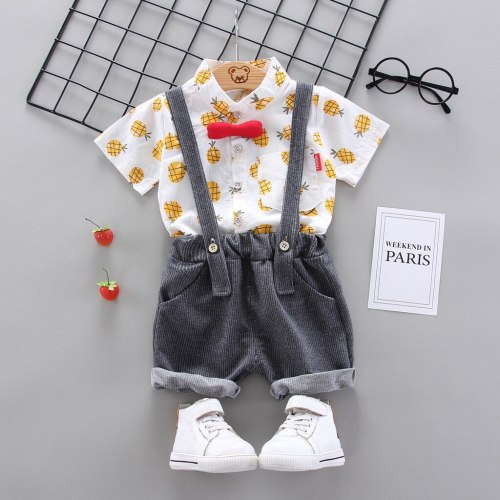 Fashion 1-4Years Infant Baby Boys Clothes Cartoon T-shirt Tops+Strap Pants Suspender Outfits Set