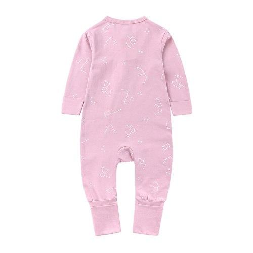 Newborn Baby Girl Cute Bind Foot Romper Jumpsuit Zipper Clothes Infant Baby Kids