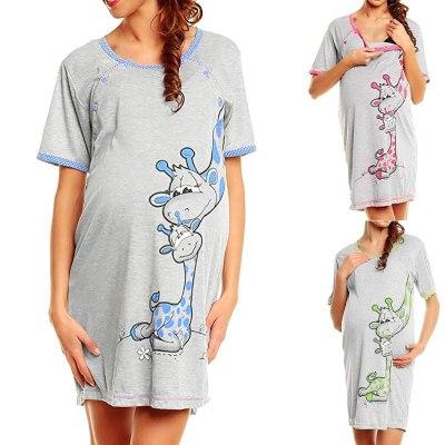 Fashion Pregnancy dress Women Short sleeve Pregnant Maternity Dress Skirt Solid Print Nightdress maternity sleepwear