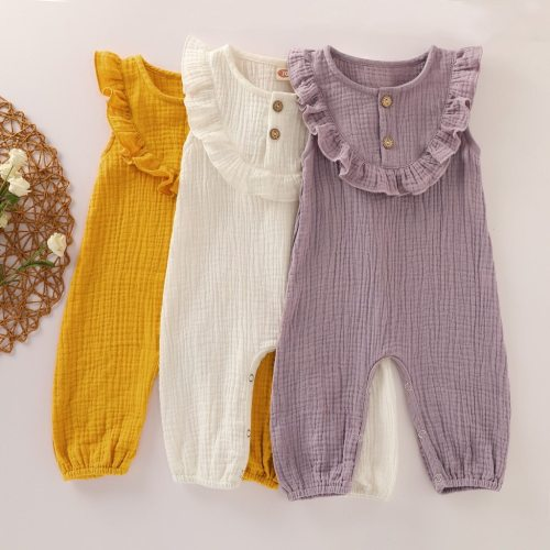 Newborn Infant Baby Girl Clothes Solid Button Cotton Linen Romper Jumpsuit Outfits Toddler Rompers