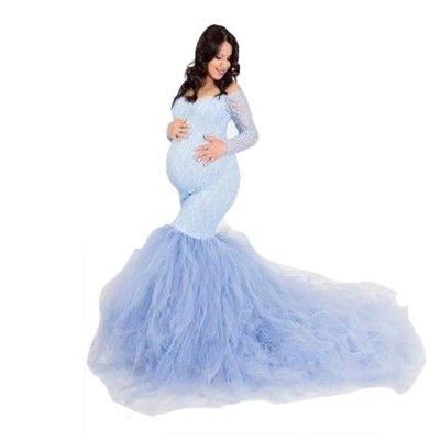 Lace Elegant Chiffon Bottom Maternity Photo Shoot Dress