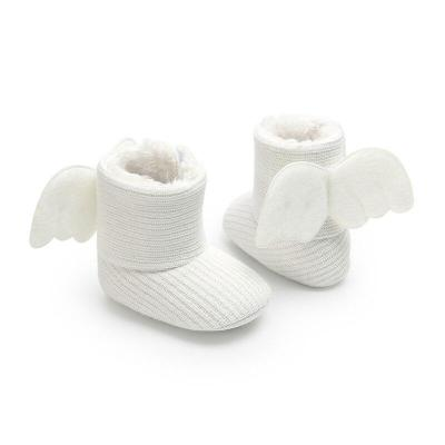Princess Angel girls wings boots kids plush thicker Crochet cotton shoes Children winter boots Female children baby Snow boots