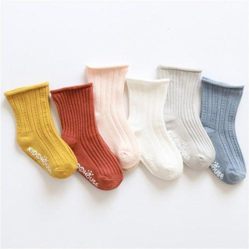Fashion Newborn Baby Solid Print Sole Soft Shoes Sock Boys Girls Infant Toddler Anti-slip Socks