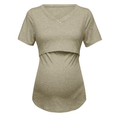 Maternity Clothes Women's Short Sleeve Pure Colour Breastfeeding Nusring Pregnancy Tops