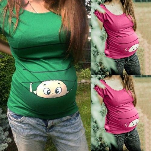Maternity Clothes Women Maternity Short Sleeve Cute Cartoon Print Shirt Pregnant Cartoon Graphic Tops