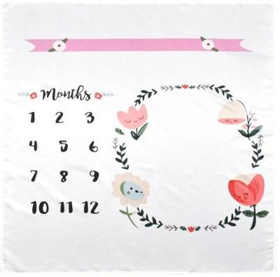 Infant Baby Milestone Blanket DIY Photo Photography Props Newborn Flower Letter Printed Monthly Growth Blankets Backdrop Cloth