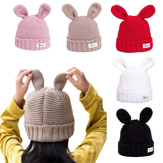 Cute Bunny Ears Toddler Children's Kids Girl Infant Winter Warm Autumn Rabbit Ear Hat Woolen Hat