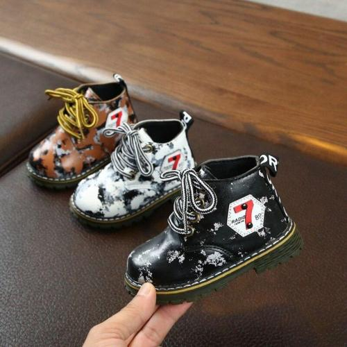 Winter Warm Baby Camo Snow Boots shoes PU Fashion Little Boys Girls Non-slip Soft Bottom Outdoor Boots Toddler Boys Martin Shoes