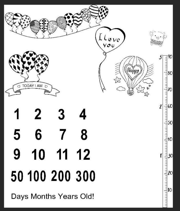 Infant Baby Milestone Blanket Balloon Photo Photography Props Backdrop Cloth Calendar Bebe Boy Girl Accessories 100x100cm