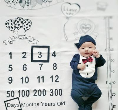 Infant Baby Milestone Blanket Balloon Photo Photography Props Backdrop Cloth Calendar Bebe Boy Girl Accessories 100x100cm