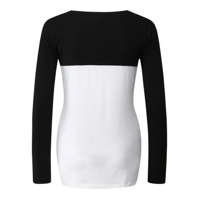 Pregnancy Toy Women Maternity Long Sleeve Patchwork Color Shirt Tops