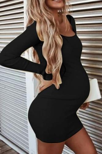 Maternity Dresses Women Pregnant O-Neck Long Sleeve Solid High Elastic Soft Mini Dress