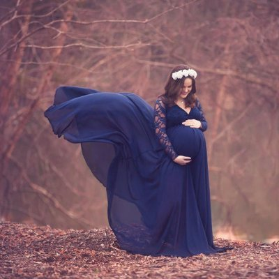 Lace See-Through Sleeve V neck Maternity photo Shoot Dress
