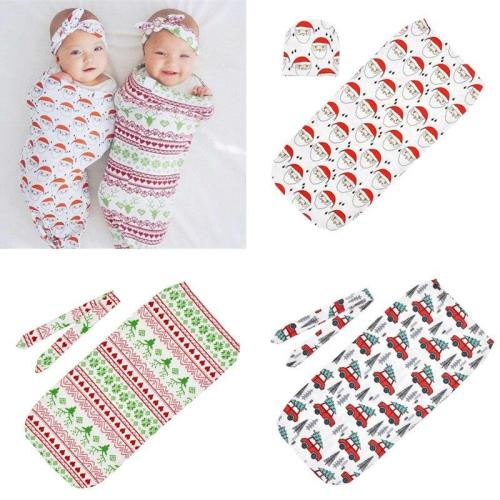 Newborns Baby christmas sack + Knot headband or Hat 2pcs Set Infant Printed Swaddle Wrap Sleeping bag Kids Photography Props
