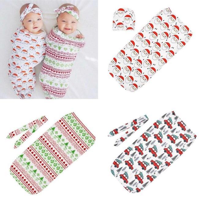 Newborns Baby christmas sack + Knot headband or Hat 2pcs Set Infant Printed Swaddle Wrap Sleeping bag Kids Photography Props