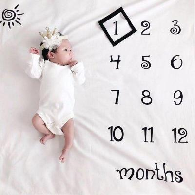 Newborn Baby Milestone Blankets Photography Blanket Flower Print Soft Blanket DIY Infant Photography Props
