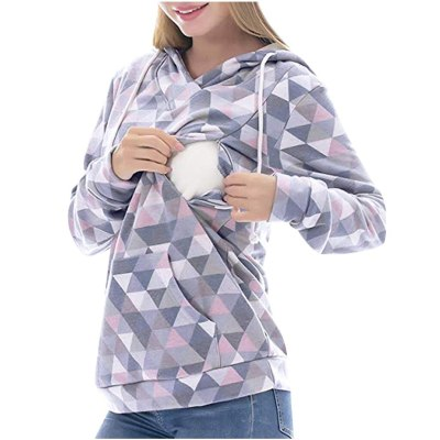 Fashion maternity clothes Long Sleeve Hooded Nursing Tops breastfeeding clothes Pullover Sweatshirt
