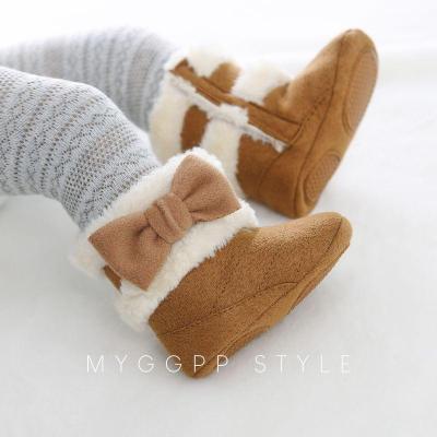 WEIXINBUY Newborn Infant Baby Girls Winter Warm Bow Fur Mid-Calf Length Slip-On Furry Boots 0-18M Hot
