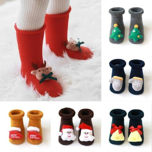 Anti slip Newborn Kawaii Cartoon Cotton Winter Autumn Baby Girl Boys Kids Christmas Sock Infant Terry Warm Slippers