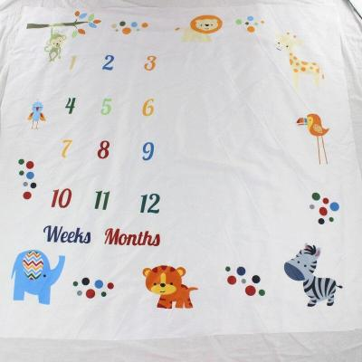 2019 Baby Milestone Blanket Monthly Growth Blankets Newborns Infant Animal Lion Background Cloth Photography Props  Gift