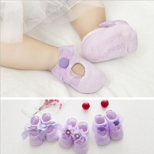 3 Pairs/Set Newborn Baby Girls Cute Socks Baby Sock Cute Lace Bow Flower Cotton Hollow Boat Socks Floor Socks