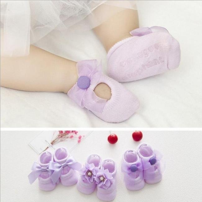 3 Pairs/Set Newborn Baby Girls Cute Socks Baby Sock Cute Lace Bow Flower Cotton Hollow Boat Socks Floor Socks
