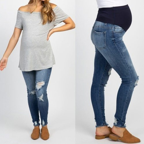 Woman Pregnant Ripped Jeans Maternity Pants Trousers Nursing Prop Belly Legging
