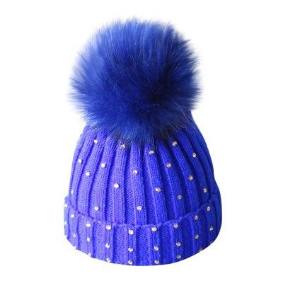 Autumn winter children hair ball single ball knit hat Baby Diamond Knitting Wool Hemming Hat