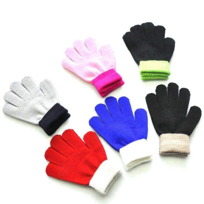 Suit For Over 12 Years Children Kids Magic Winter Gloves Colorblock Full Finger Warm Knitted Gloves