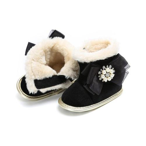 Newborn Baby Toddler Super Warm Winter Snow Boots Kids Flock Soft Bottom With Cute Flower Moccasins Boots