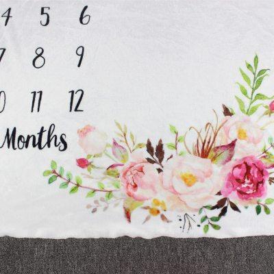 100x130cm Infant Baby Milestone Blanket Girl Boy Newborn Photography Props Flannel Fleece Monthly Shower Blanket Swaddle