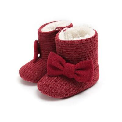 Fashion Winter Baby Toddler Boots Cute Butterfly-knot Knitted Yarn Vamp Warm Boots Baby Toddler Boots