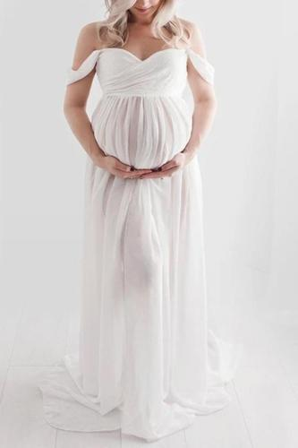 Women Off Shoulder Maternity Dresses For Photo Shoot Sexy Photography Ruffled Nursing Long Dress Maxi Dress