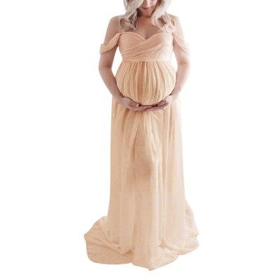 Women Off Shoulder Maternity Dresses For Photo Shoot Sexy Photography Ruffled Nursing Long Dress Maxi Dress